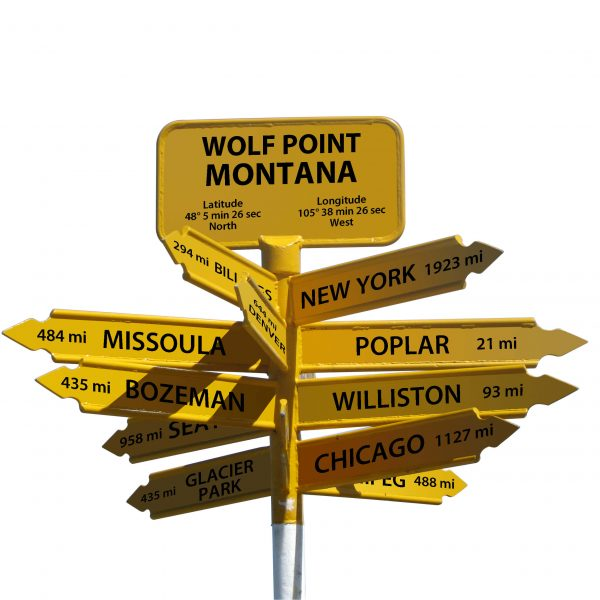 Signpost showing the remoteness of Wolf Point Montana